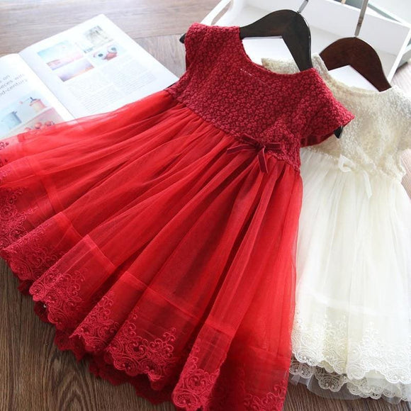 Baby Girls Dress New Summer Mesh kids Clothes Pink Applique Princess Dress Children Summer Clothes Girls Dress3-7Y #0127 - My Web Store Shopping