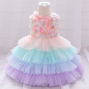 Load image into Gallery viewer, Baby Girls Dress Flower Kids Clothing Mesh Princess Dress Sleeveless Newborn Baby Clothes Birthday 1 Year Girl Party Tutu Dress - My Web Store Shopping