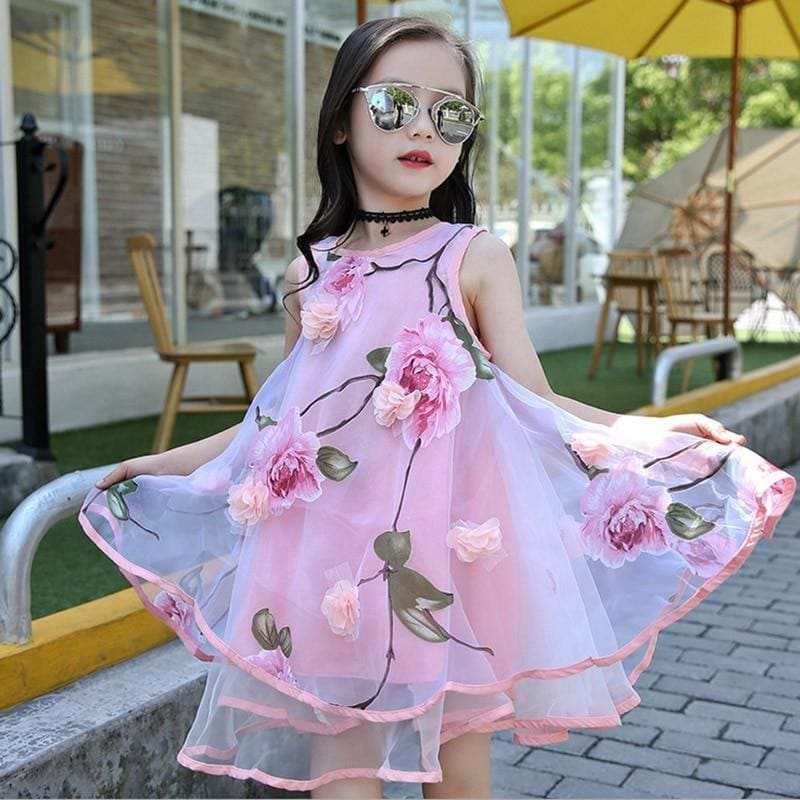 Baby Girls dress Summer Kids party Flower Lace Sleeveless Lush dress for girl costume - My Web Store Shopping
