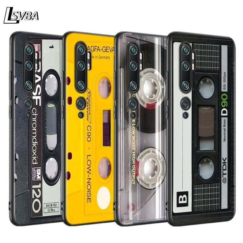 Black Case Shell Vintage Magnetic Tape Cassette for Xiaomi Mi NOTE 10 9 8 Lite 9T SE A1 A2 A3 CC9 SE Lite Mix 3 F1 Phone Cover - My Web Store Shopping