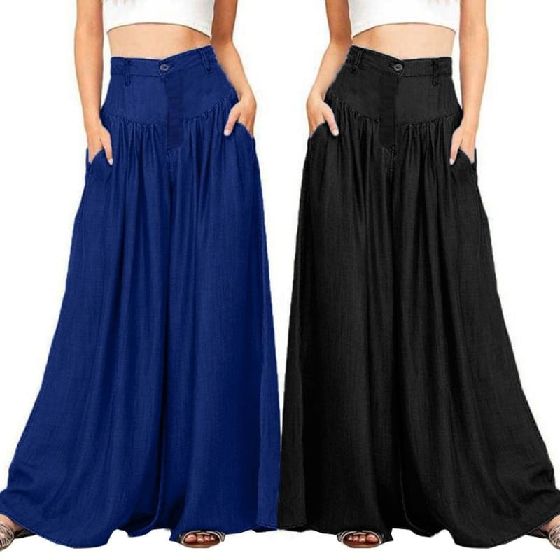 Palazzo Trousers Black Self Belted Box Pleated Palazzo Long Pants Female Loose Elegant OL Work - My Web Store Shopping