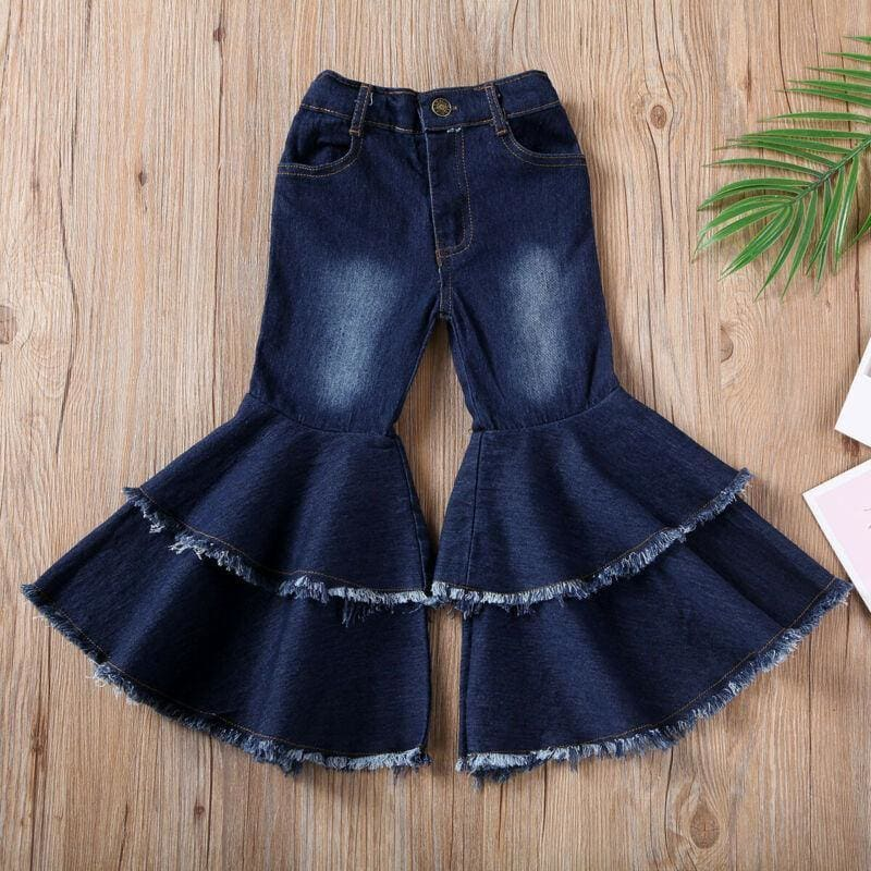 Children Pants Kids Baby Girls Casual Wide Denim Leg Pants Ruffles Long Trousers Pocket Flare Boot Cut - My Web Store Shopping
