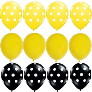 Load image into Gallery viewer, Bumblebee Party Decor Honey Bee Theme Supplies Star Mylar Foil Balloons Yellow Black Polka Dot Balloons Birthday  Baby Shower - My Web Store Shopping