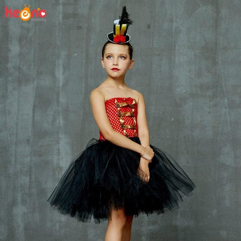 Carnival Circus Ringmaster Tutu Dress with Headband Girls Birthday Party Fancy Dress Lion Tamer - My Web Store Shopping
