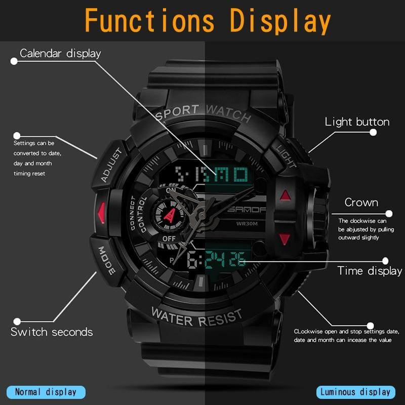 Digital Watch Men Stopwatch Alarm-clock Date Display Luminescence Mode 12/24-hour Time Format - My Web Store Shopping