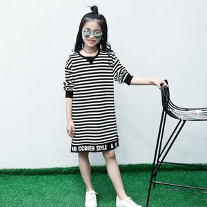 Load image into Gallery viewer, Children's dress 2018 Girls Spring and Autumn striped letter in the long casual blouse shirt Middle - My Web Store Shopping