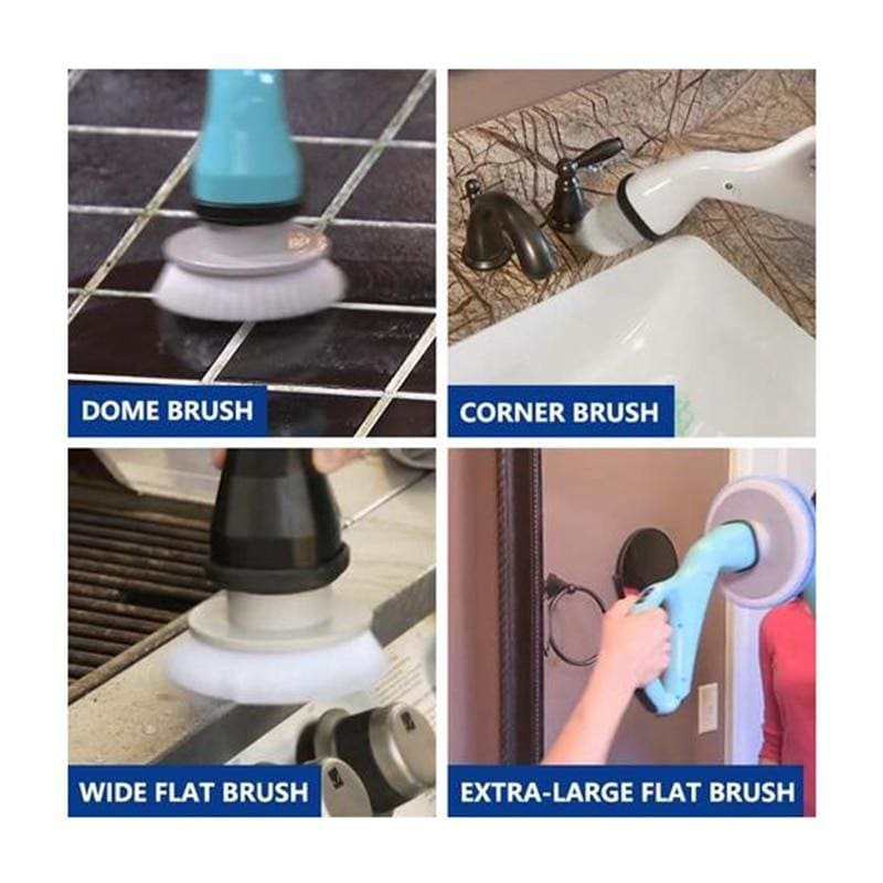 Cordless Hurricane Scrubber 4pcs Electric Cleaning Brush with Brush Heads Bathroom Bathtub Shower Tile Brush - My Web Store Shopping