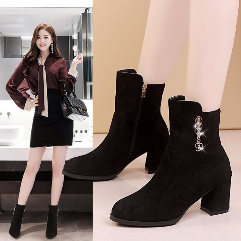 Crystal flock &leather chelsea boots thick high heels ankle botas woman side zipper pointed toe - My Web Store Shopping