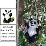 Cute Black and White Panda Swing on Bamboo Creative Statue Home Garden Decoration Outdoor Decoration - My Web Store Shopping