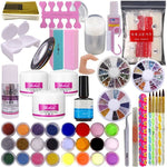 DIY Nail Art Decorations Uv Gel Kit Brush Buffer Tool Nail Tips Glue Colorful Acrylic Powder Glitter  Sanding Files Salon - My Web Store Shopping