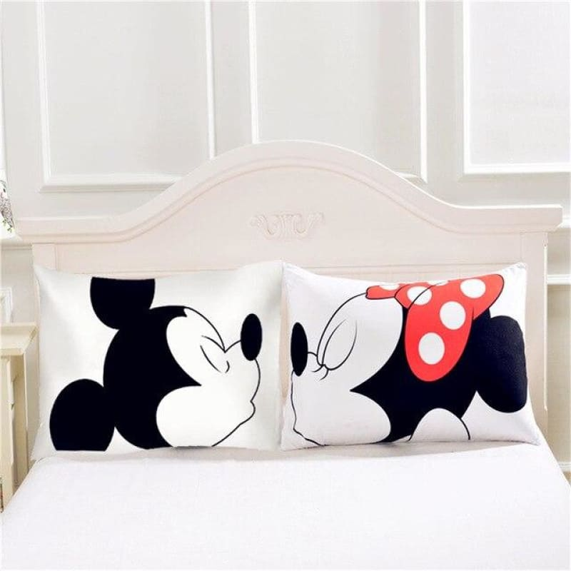 Disney Mickey and Minnie Mouse Pillow Case 2 pieces Mr Mrs Couple Lover Gift Throw Pillow cover shams cartoon 3d linen girls Bed - My Web Store Shopping