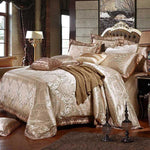 Luxury Satin Jacquard Duvet Cover Set Cotton Duvet Cover Bedsheet Pillowcase Bedlinen 4Pc Bedding Sets Queen King Size - My Web Store Shopping