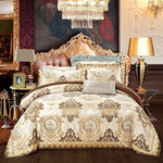 European style golden jacquard satin luxury bedding sets/bedclothes queen king size duvet cover bed linen sheet set pillowcase - My Web Store Shopping