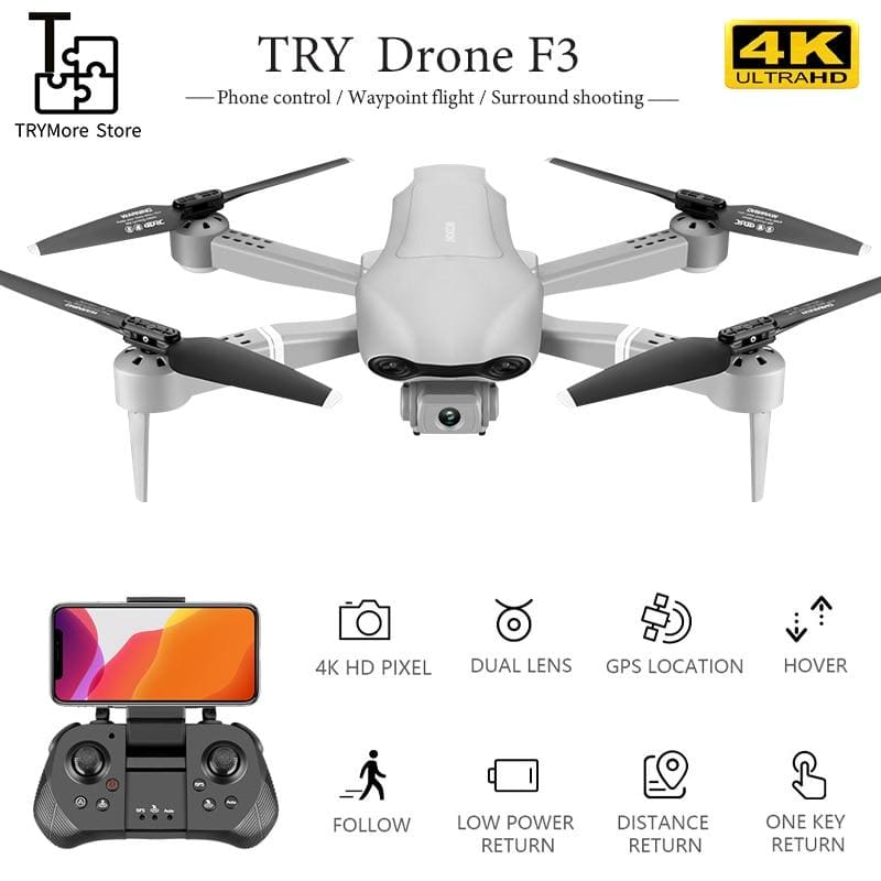 F3 Drone With Gps 4k 5g Wifi Live Video Fpv Quadrotor Flight 25 Minutes Rc Distance 500m Drone Hd - My Web Store Shopping