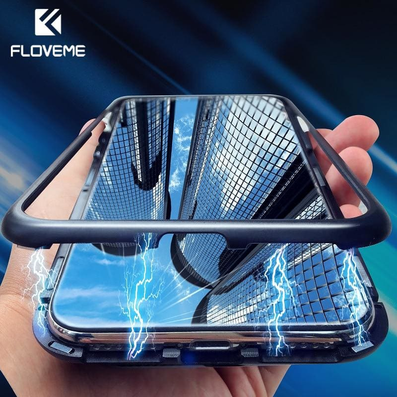 Magnetic Adsorption Phone Case For iPhone X 10 7 Metal Magnet Tempered Glass Cases For iPhone 8 7 - My Web Store Shopping