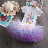 Fantasy Infant Baby Girl Unicorn 3pcs Outfits for 1st Birthday Baby Girl Dress Little Princess Party - My Web Store Shopping