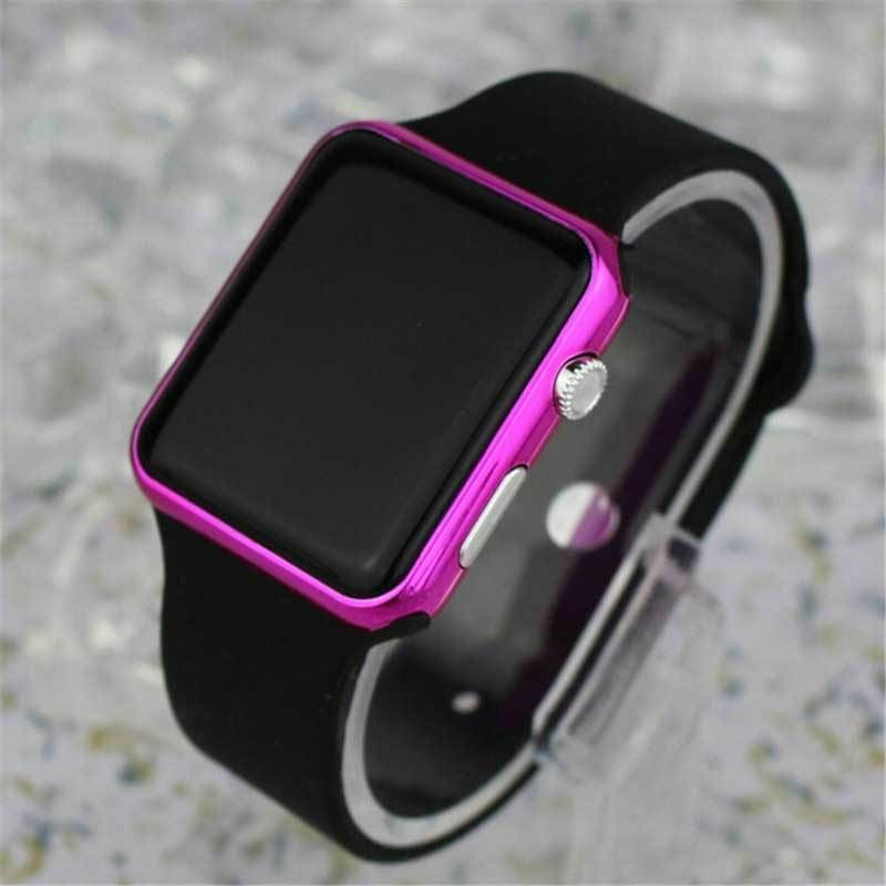 Fashion Square Mirror Face Silicone Band Digital Watch Red LED Watches Metal frame WristWatch Sport - My Web Store Shopping