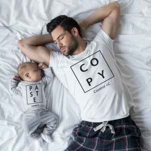 Load image into Gallery viewer, Copy Ctrl C V Print Daddy and Baby Matching T Shirts Family Look Tees Family Matching Clothes Father Son Sets - My Web Store Shopping