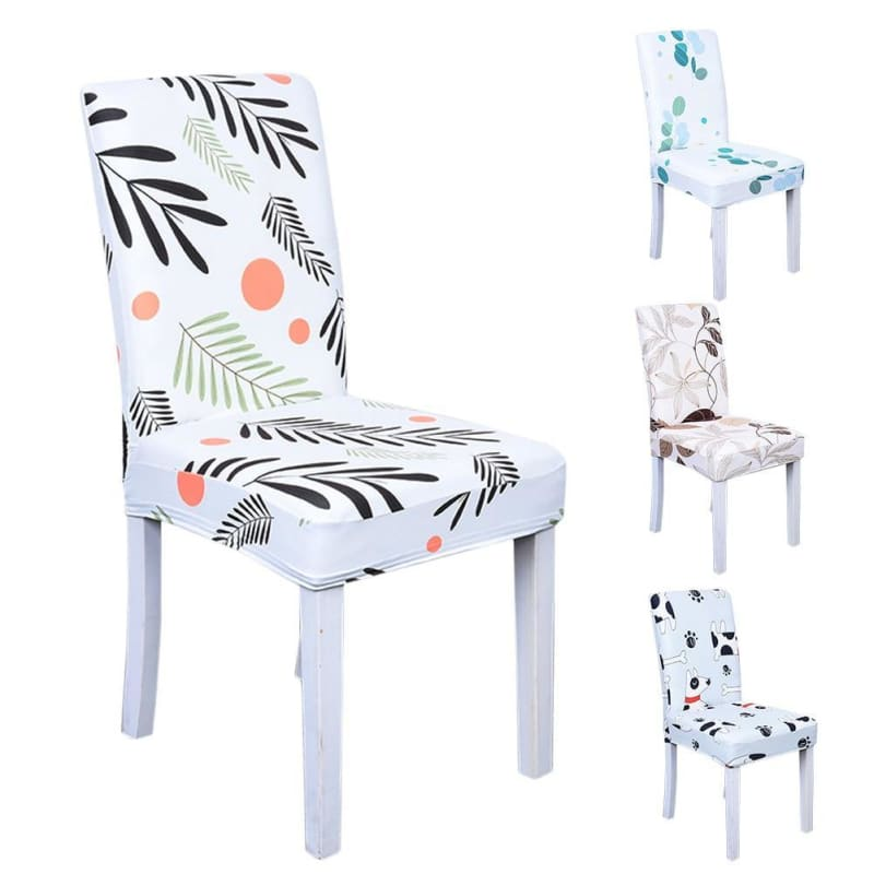 Floral Print Elastic Chair Covers Home Dining Spandex Stretch Seat Slipcover Removable Washable For Banquet Home Hotel Dining - My Web Store Shopping