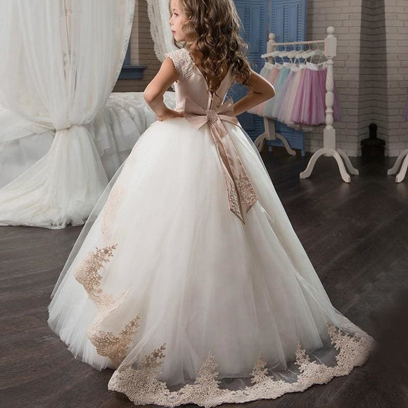 Flower Big Bow Long Prom Gowns Teenagers 3-14 Yrs Dresses for Girl Children Party Clothing Kids Evening Formal Dress for Wedding - My Web Store Shopping
