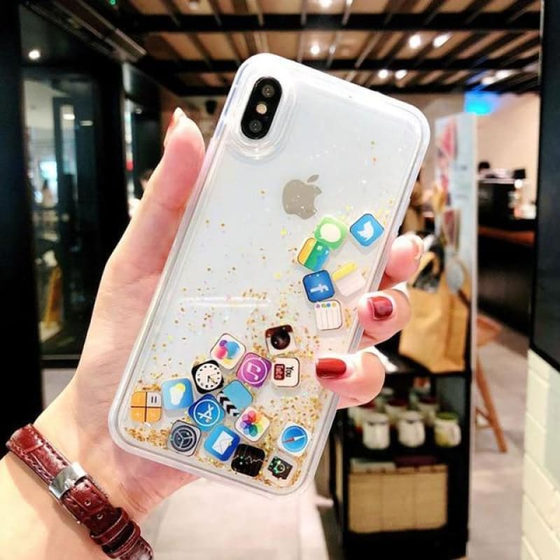 For iPhone Xs Liquid Hard Phone Shell For iPhone 11 8 7 6s Plus X XR MAX Cases Dynamic Quicksand Cover Cute apps icon Case Capa - My Web Store Shopping