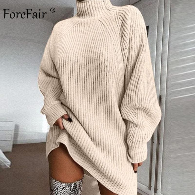Oversized Knitted Dress Sweater Solid Long Sleeve Casual Elegant Mini Warm Winter Turtleneck Dress - My Web Store Shopping
