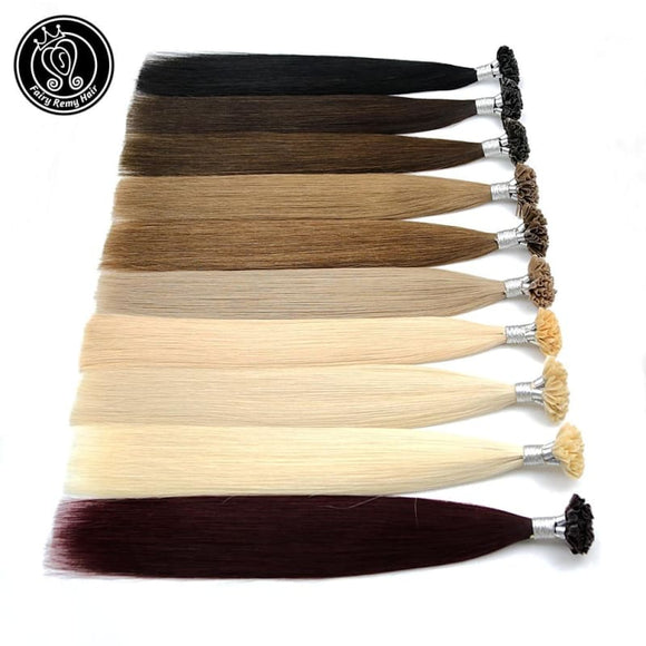 Human Hair Extensions Capsule U Nail Tip Real Bonded Hair Platinum Blonde 16
