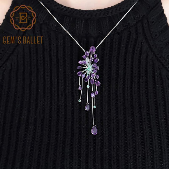New 8.88Ct Natural Amethyst Purple Gemstone Pendants 925 Sterling Sliver Gothic Necklace For Women - My Web Store Shopping