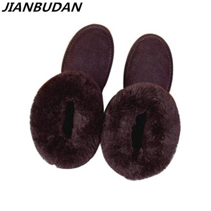 Genuine Leather cowhide Women's snow boots new winter Plush fur Warm shoes lady casual winter - My Web Store Shopping