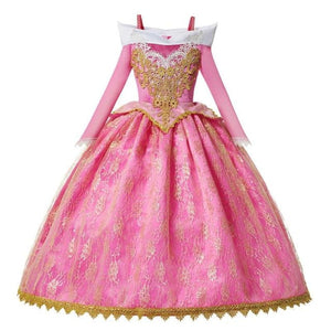 Load image into Gallery viewer, Girls Aurora Dress Bebe Pink Sleeping Beauty Dress Up Floral Flare Sleeve Gorgeous Pageant Gown for - My Web Store Shopping