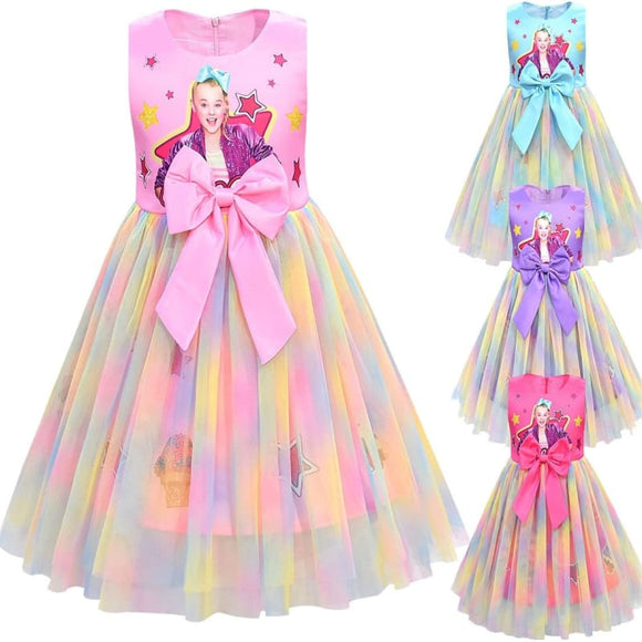 Girls Jojo Siwa Dress Girls Bow Vestidos Kids Party Birthday Dress Children Dresses Girls Christmas - My Web Store Shopping