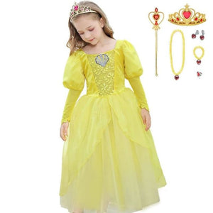 Girls Little Mermaid Princess Ariel Dress Up Dresses Kids Fancy Frock Role Playing Costume Birthday - My Web Store Shopping