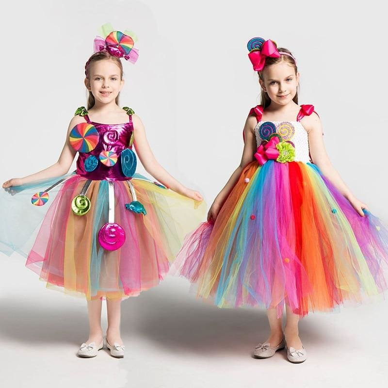 Girls School Performance Costumes Kids Rainbow Candy Knitting Dress Children Lollipop Modeling Tulle - My Web Store Shopping