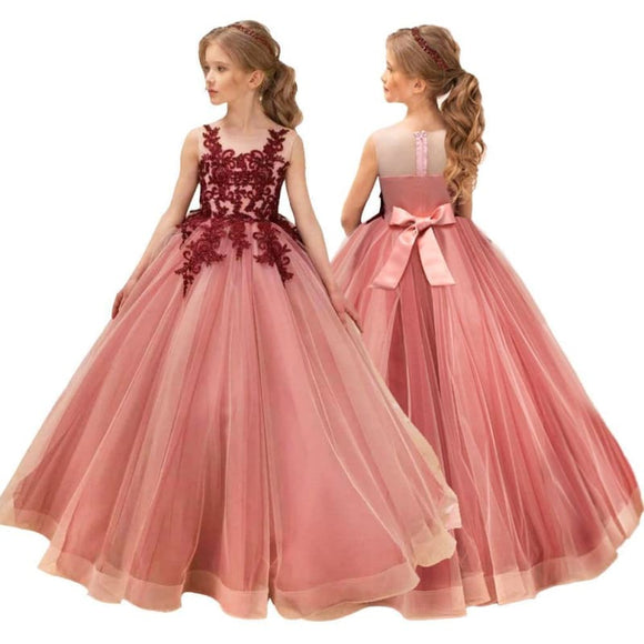 Wedding Kids Dresses For Girl Party Dress Lace Princess Teenage Children Princess Bridesmaid Dress - My Web Store Shopping