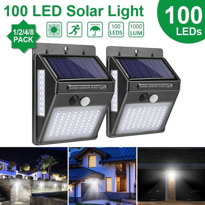 Goodland Outdoor Lighting 100 LED Solar Wall Light Waterproof Outdoor Lamp LED With PIR Motion - My Web Store Shopping