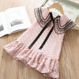 Girl DressSummer New Lace Carved Flying Sleeve Princess Elegant Party Dresses - My Web Store Shopping