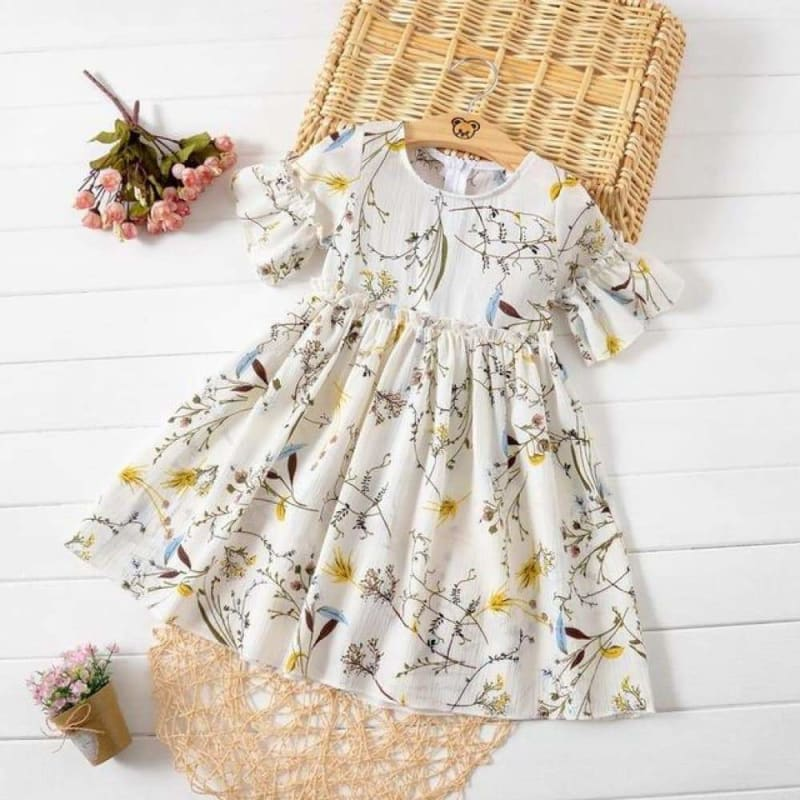 Load image into Gallery viewer, HE Hello Enjoy Kids Clothes Girl Summer Dress Casual Flare Sleeve Flare Sleeve Ruched Floral Print - My Web Store Shopping