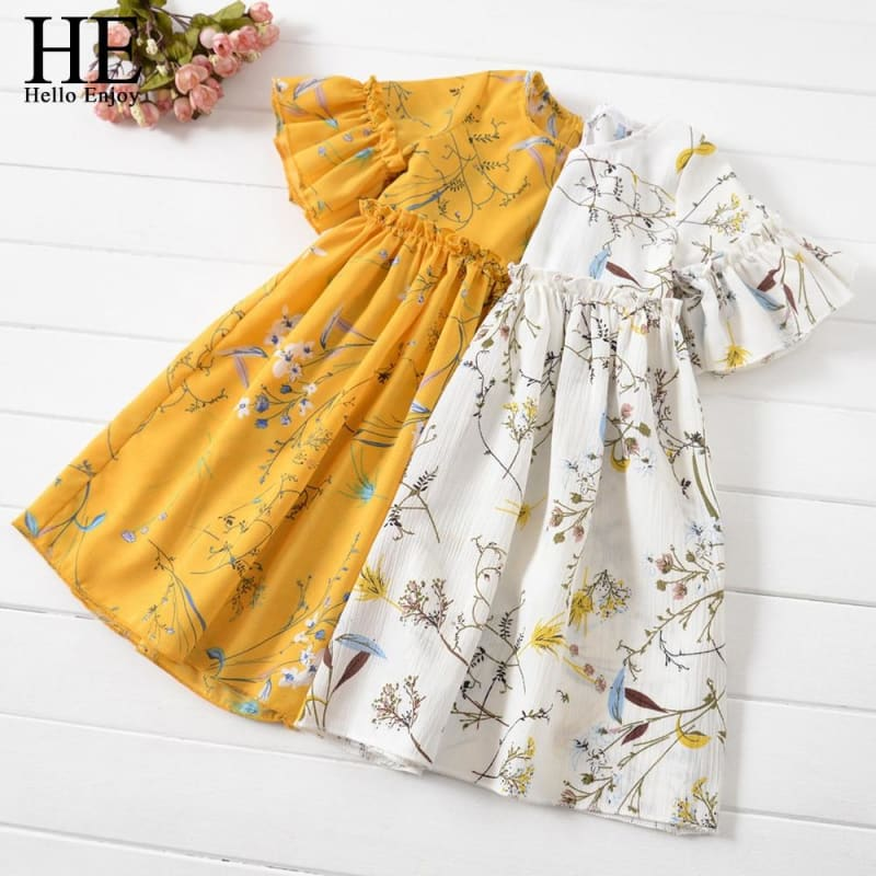 HE Hello Enjoy Kids Clothes Girl Summer Dress Casual Flare Sleeve Flare Sleeve Ruched Floral Print - My Web Store Shopping