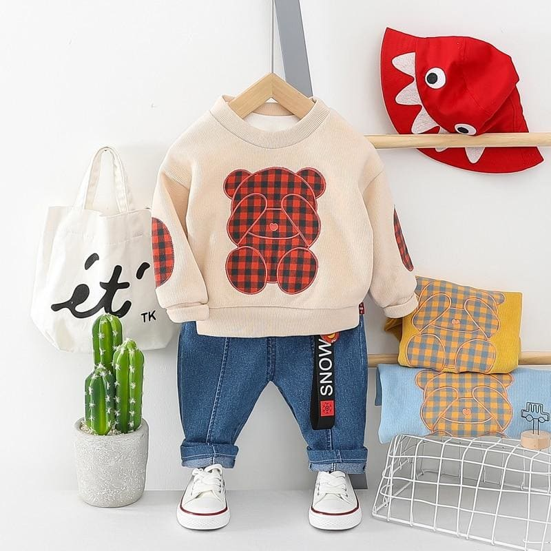 Baby Girls Boys Clothing Sets Bear T Shirt Jeans Toddler Infant Clothes Children Vacation clothing - My Web Store Shopping