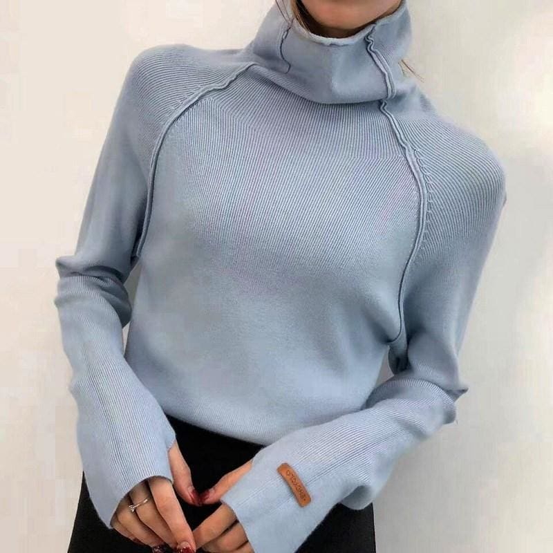 Turtleneck Sweater Women Pullover Solid Knitted Sweater Casual Female White Oversized Sweater - My Web Store Shopping
