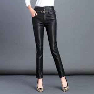 High Waist Skinny Pants Black Women Autumn Winter Casual Pants Fashion PU Leather Button Sashes - My Web Store Shopping