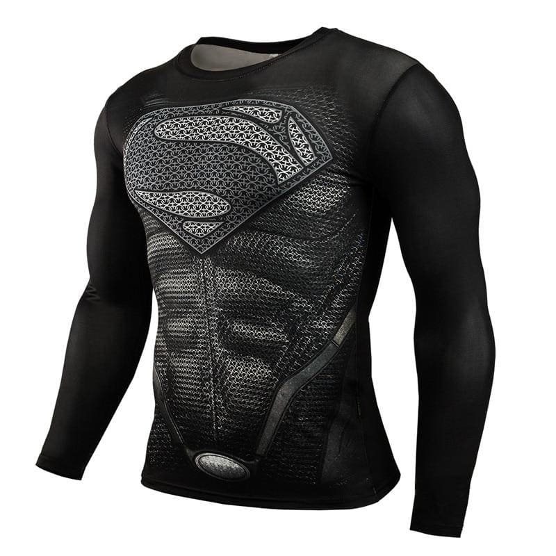 Compression Shirt Men Anime Bodybuilding Long Sleeve Workout 3D Superman Shirt Tops Tees - My Web Store Shopping