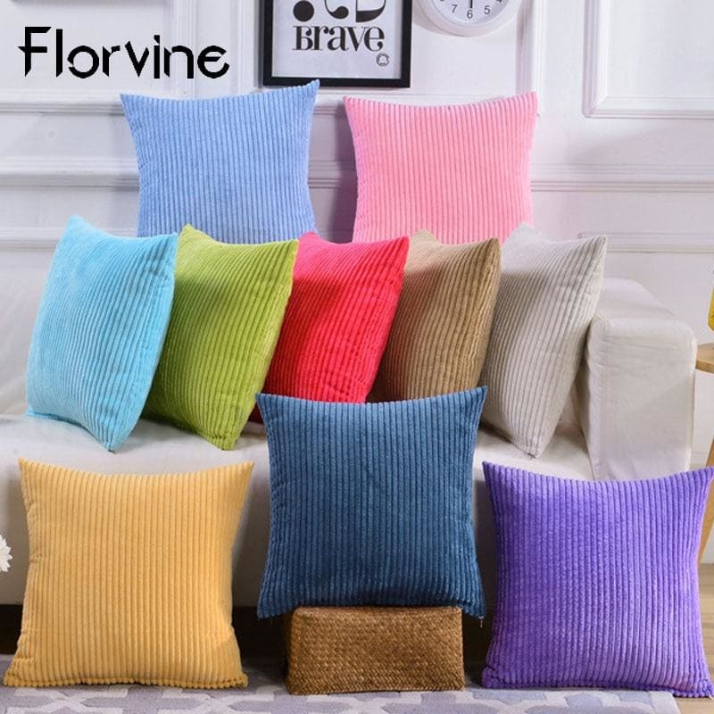 Cushion Cover 45x45cm Simple Suede Pillow Cover For Sofa Home Decoration Pillow Striped Square - My Web Store Shopping