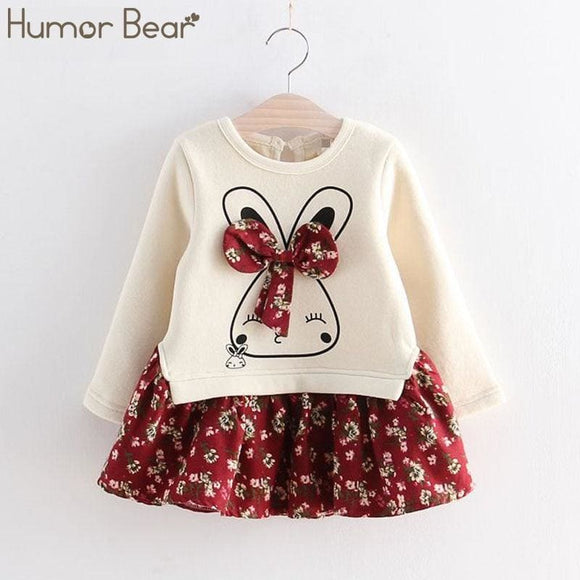 Humor Bear Girls Dress Summer Autumn Flower Princess Dress Toddler Girl Clothes Children Clothing - My Web Store Shopping