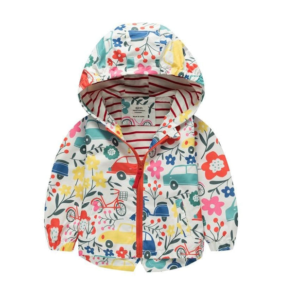 Kids Baby Girls Boys Floral Flowers Spring Hooded Coat Jacket Tops Coat Girls Kids Outerwear - My Web Store Shopping
