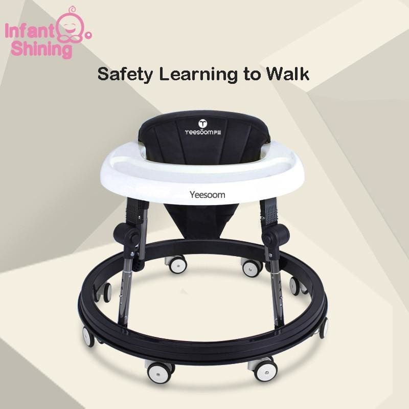 Infant Shining Baby Walker Baby Walker With 8 Wheels Black And White Baby Walker - My Web Store Shopping