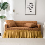 Sofa Cover with Skirt Popcorn plaid sofa Slipcover Armchair Couch Covers Living Room - My Web Store Shopping