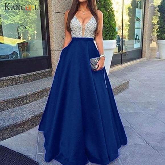Dress Women Sleeveless V Neck Sequined Wedding Elegant Party Dress Evening Slim Maxi fashion new Dress women - My Web Store Shopping