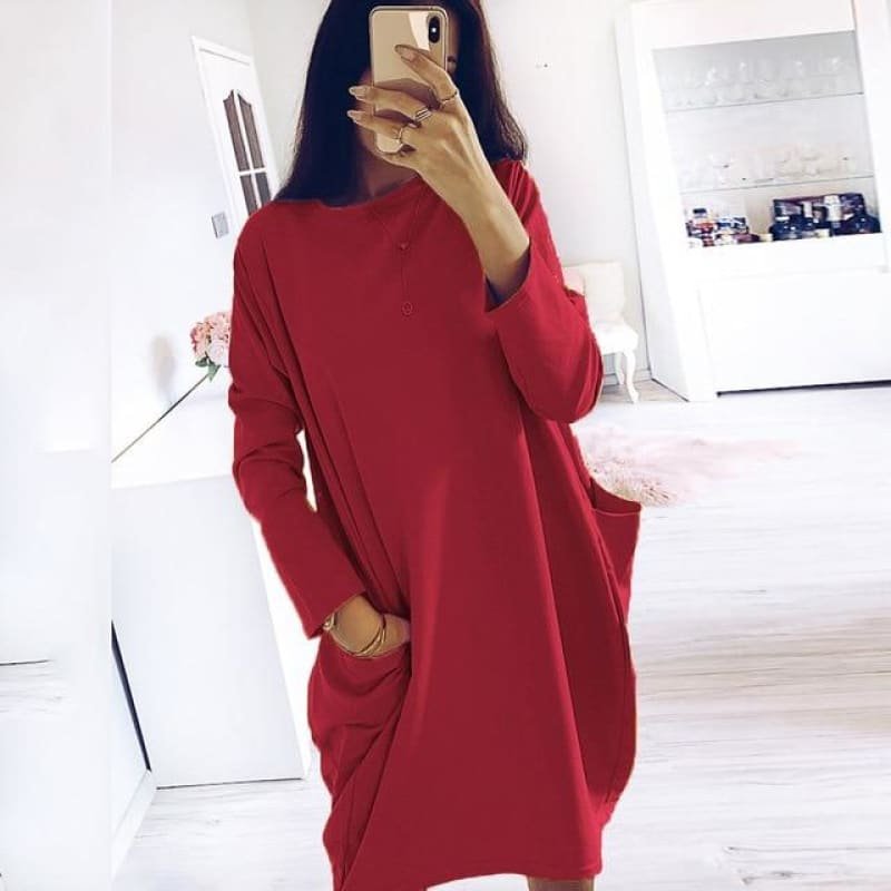 Dress Plus Size Long Sleeve Pockets Tunic Ladies  Loose Pullover Blouse Dress Winter fashion new dress women - My Web Store Shopping