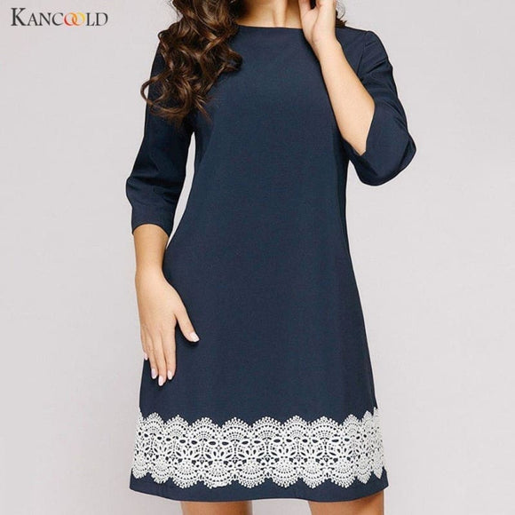 Dress Women A-Line Elegant O-Neck Half Sleeve Pocket Sashes Knee-Length Print Dress fashion new dress women - My Web Store Shopping